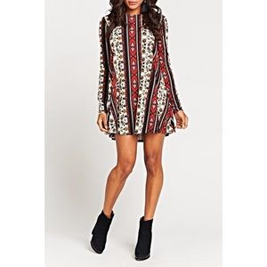 Show Me Your MuMu Red&Brown Tyler Tunic Dress